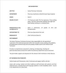 Lead Pharmacy Technician Resume 9 Pharmacy Technician Job Description Templates Free Sample