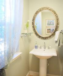 mirror mounted shelf powder room traditional with curtain sheer