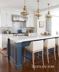 Kitchen Design Traditional Home by Benjamin Moore Newburyport Blue Hc 155 On Island Bold Color In A