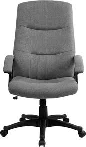 gray fabric upholstered high back executive swivel office chair by
