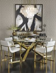gold dining table set art deco interior design with gold framed chairs and elegant round