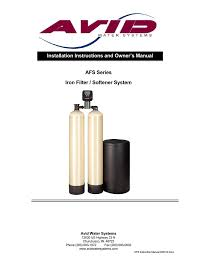 Avid Water Systems Afs Series Owner S Manual