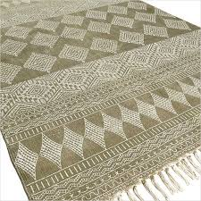 Flat Weave Cotton Area Rugs Green Cotton Block Print Accent Area Dhurrie Rug Woven Flat