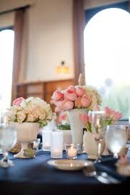 Vases For Flowers Wedding Centerpieces White And Pink Flowers In Milk Glass Vases Elizabeth Anne
