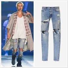 mens blue jumpsuit 2018 justin bieber ripped black and blue rock