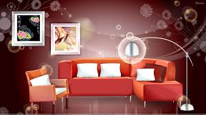 digital interior u2013 red sofa and picture frames wallpaper