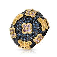 sapphire color pave cz pink flower butterfly domed cocktail ring