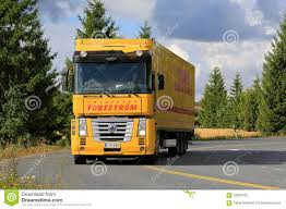 renault premium 2013 yellow renault magnum semi truck on the road editorial image