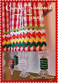 opulent cottage candy trimmed tea towel a dollar tree craft