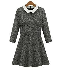 black sweater with white collar sweater dress with a circular skirt gray white collar