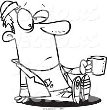 vector of a cartoon homeless man sitting and holding a cup