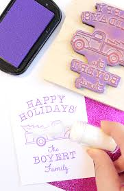 glitter truck custom stamped holiday cards u0026 gift tags