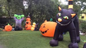 halloween airblown inflatables on display day time all sold