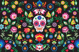 sugar skull floral wall mural murals wallpaper