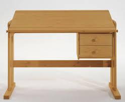 Schreibtisch Massiv Schreibtisch 121x62x60cm 2 Schubladen Platte Verstellbar Kiefer
