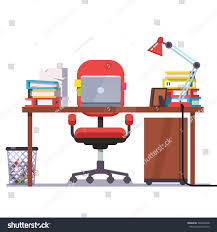 Office Table Front View Home Office Desk Casters Chair Laptop Stock Vector 394822048