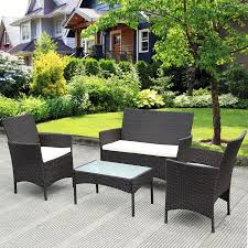 Patio Table Sets Costway 4 Pc Patio Rattan Wicker Chair Sofa Table Set Outdoor