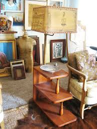 vintage mid century wooden floor l table lighting tiered