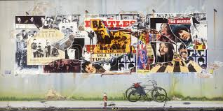 beatles posters on concrete wall wall mural photo wallpaper beatles posters on concrete wall