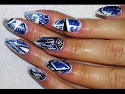 boho chic nautical inspired nail design blue glitter gradient