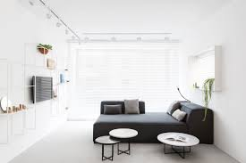 modern minimalist apartment interior design with white and gray