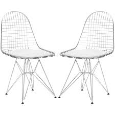 White Wire Chair Set Of 2 Eames Eiffel Dkr Style Wire Chair U2013 Poly Bark