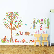 red riding hood and large tree in woodland wall stickers