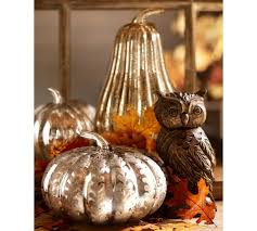 Fall Harvest Decorating Ideas - etched antique mercury glass pumpkin pottery barn