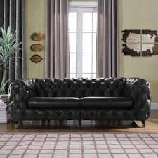 Chesterfields Sofa Yuliya Leather Chesterfield Sofa With Built In Shelves Reviews