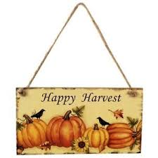 happy harvest sign hanging plaque thanksgiving hanger wall