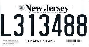 Temporary File New Jersey Temporary License Plate