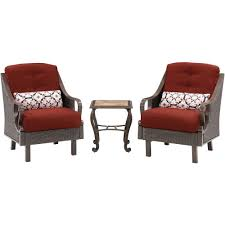 hanover ventura 3 piece all weather wicker patio chat set with