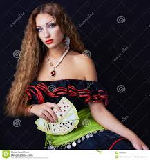 gypsy fortune teller halloween costume woman fortune teller read the cards stock photo image 59033583