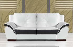 canapé en cuir italien canape 2 places cuir blanc et noir sofamobili