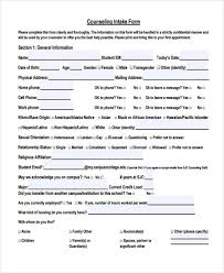 Counseling Intake Form 48 Counseling Form Exles
