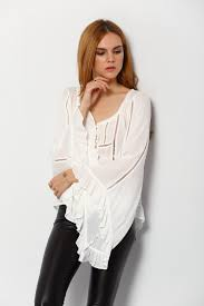 white bell sleeve blouse white bell sleeve hollow lace up blouse shein sheinside