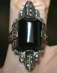 vintage art deco onyx marcasite sterling silver ring 5