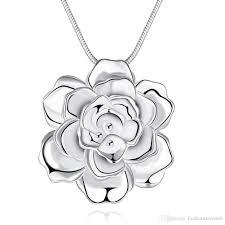 rose flower necklace images Wholesale romantic rose flower necklace pendant fashion 925 jpg