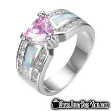 gear wedding ring pink heart opal wedding ring for women gear just for you