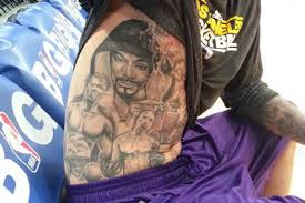 la lakers center robert sacre has incredible torso tattoo of snoop