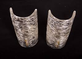 Chandelier Wall Sconce Textured Glass Wall Sconces By J T Kalmar Set Of 2 For Sale At
