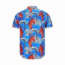 gucci tiger print short sleeved shirt men casual dress shirts