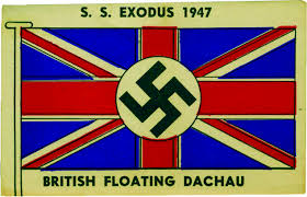 exodus u2013 sticker with the british flag and a swastika 1947