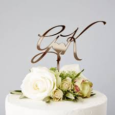 wedding cake topper personalised initials wedding cake topper by