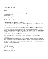 scholarship thank you letters sample scholarship thank you letter