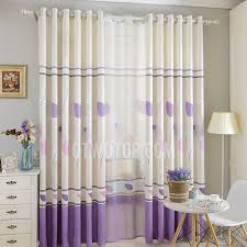 Leaf Pattern Curtains Pastoral Leaf Pattern Lavender And White Polyester Bedroom Curtains