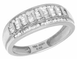 10k white gold wedding band men s 10k white gold real baguette diamond wedding band ring 1 2