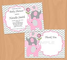 pink and gray elephant baby shower invitations homemade party