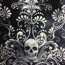 Fabric Halloween by Goth Horror Skull Damask Scary Halloween Tattoo Dead Cotton Quilt