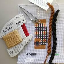 brown plaid golf bag christmas ornament with threads